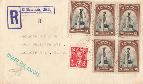 Kingston, ON. 1940 Registered Cover. Passed For Export To NY. RPO Mon & Tor. Canada