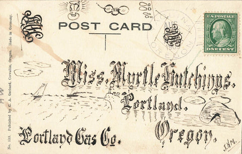 Portland, OR Gas Co. Advertising Postcard. Undivided Back. Cape Foul Weather Light House On Front