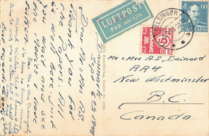 Denmark. Frederiksborg Castle. 1948 Airmail Short Paid Postcard To New Westminster, BC