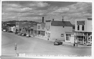 Three Forks, Montana. 1930's-40's Street Scene With Storefronts. USA RPPC Postcard
