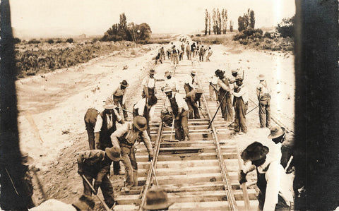 Crew Working To Lay New Railway Track. Real Photo Postcard