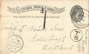 Toronto, ON. 1896 Triple Circle To England (Receiver) Short Paid. Canada Postal Stationary