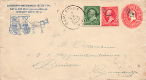 Horse Drawn Milk Wagon On 1900's USA Illustrated Advertising Cover NJ To Germany PMK