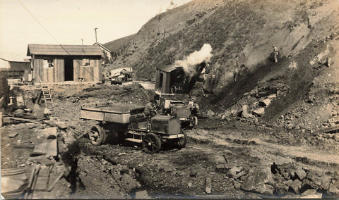 Early Construction Site With Trucks And Equipment. Real Photo Postcard