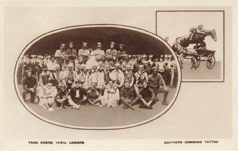 Military Trick Riders 16-5th Lancers. Southern Command Tattoo. GB RPPC Postcard. Fleetway Press