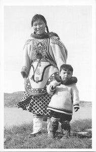 Indigenous (Inuit) Mother And Child Pose For Photograph. Hudson's Bay RPPC Postcard