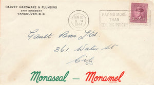 Vancouver, British Columbia. Harvey Hardware Paint Advertising Cover Monaseal/Monamel