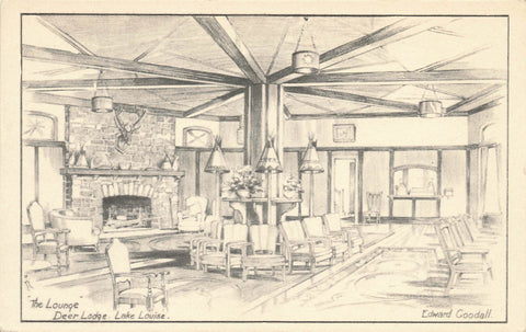 Edward Goodall Artist Signed Postcard. The Lounge In Deer Lodge. Lake Louise, AB Canada