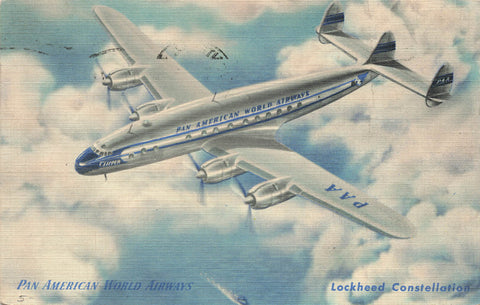 Pan American Airways Lockheed Constellation Airplane 1950 Linen Postcard Posted From PQ
