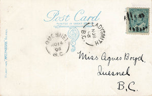 British Columbia. Ladysmith 1906 To Quesnel Receiver Split Rings On Canada Postcard