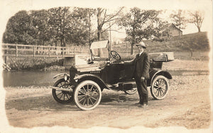Man Poses Beside Automobile. Vintage Real Photo Postcard