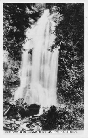 1946 Rainbow Falls, Harrison Hot Springs, BC. Split Ring Broken Circle. Canada RPPC Postcard
