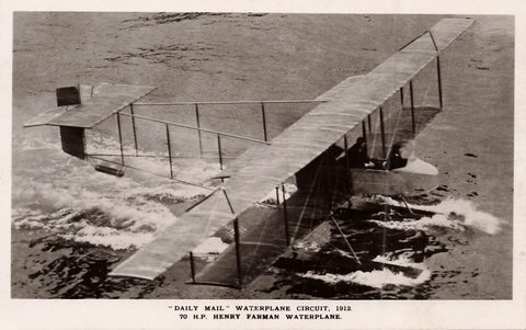"Daily Mail Waterplane Circuit, Or ""Wake Up England"" Tour 1912. Grahame White Aviation Co. 70 H.P. Henry Farman Waterplane. GB RPPC Postcard"