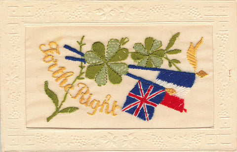"Embroidered Military Silk Postcard. WW I. ""For The Right"". Patriotic Flags"