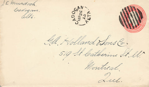 Cadogan, Alberta 1915 Split Ring Duplex On Canada Postal Stationery Cover