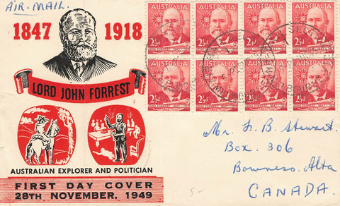 New Zealand 1949 First Day Cover To Bowness, AB {1942-1961) Canada