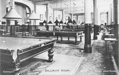 London, England. Military Armed Forces Union Jack Club Billiard Room 1900's. GB Postcard