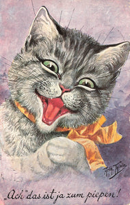 "Artist Arthur Thiele Signed Postcard 1911. Cat With Ribbon ""Ach Das Ist Ja Zum Piepen!"""