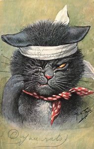 Artist Arthur Thiele Signed Postcard. Cat With Bandage