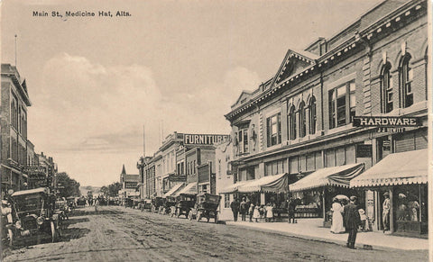 Medicine Hat, Alberta. Main Street With Storefronts. Rumsey Canada Postcard
