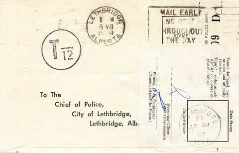 Lethbridge, Alberta Breach Of Traffic Ticket. Postage Due 12 Cents. Canada