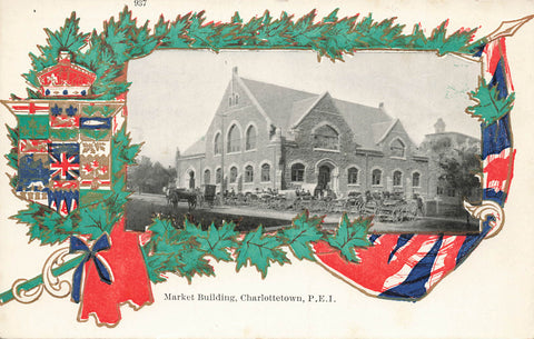Charlottetown, PEI. 1900's Market Building W/Horse and Carriages In Front. Canada Patriotic Postcard