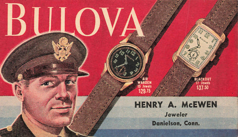 Danielson, Connecticut. USA Advertising Postal Stationary. Bulova Watches 1940's