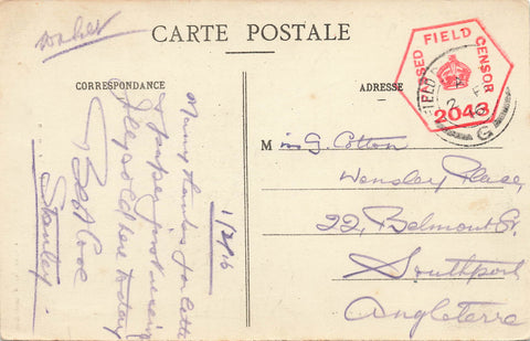 "British Military 1916 Censored Postcard From FPO In France. WWI ""Windmill"""