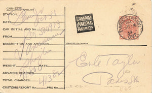 Canadian National Railways Freight Advice Postal Stationery Card Ontario, Canada 1939