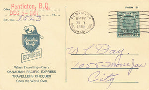 Canadian Pacific Express Shipment Notice On Postal Stationery Card British Columbia 1951