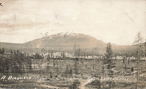 Cranbrook, British Columbia. Birds Eye View From Leitch's Hill. Canada RPPC Postcard