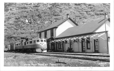Bennett, British Columbia Railway Depot With Train. Canada Real Photo Postcard