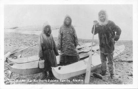 Alaska Far Northern Indigenous (Inuit) Family With Boats. USA Real Photo Postcard
