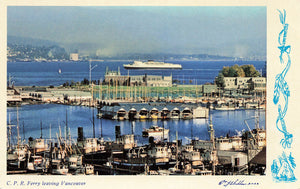 CPR Ferry Leaving Vancouver, British Columbia. W.J. Gibbons Canada RPPC Postcard