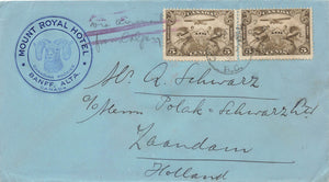 C1 X(2) Canada 1931 Airmail Cover Originating From Banff, Alberta. Short Paid To Holland