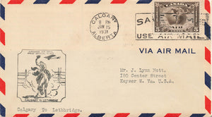 #C2 First Flight Cover 1931 Calgary, Alberta To Lethbridge, Canada