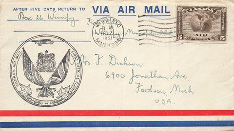 #C2 First Flight Cover 1931 Winnipeg, Manitoba To Pembina, Canada