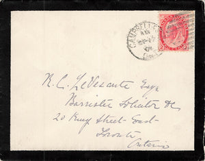 Campbellford, Ontario 1901 Mourning Cover To Toronto, Canada. Numeral Issue