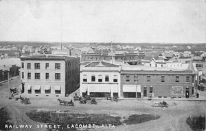 Lacombe, Alberta Railway Street With Storefronts. Warwick Canada Postcard