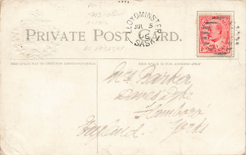 Lloydminster, Saskatchewan. 1906 Split Ring (1903-Open) On Canada Patriotic BC Postcard