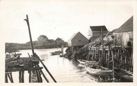 View Of Boats And Houses At Peggy's Cove, Nova Scotia 1950's. Canada Real Photo Postcard
