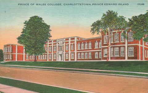 Charlottetown, Prince Edward Island Prince Of Wales College. Canada Postcard