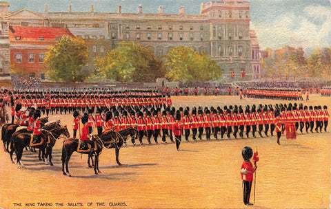 Palace Of Whitehall Middlesex, England. King Taking Salute Of The Guards. GB Tuck Postcard