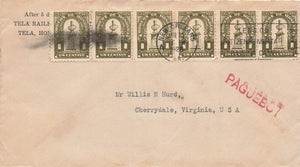 Correos De Honduras and New Orleans 1926 Cover With 1 Cent Stamps x(6) And Paquebot Handstamp To USA