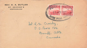 Sandy Point, Newfoundland 1926 Canada Cover To Banff, Alberta B/S