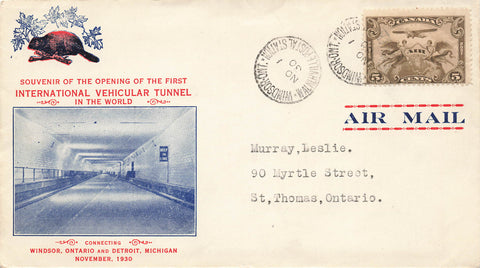 #C1 Canada Airmail Cover 1930 Commemorating Windsor, Ontario And Detroit, MI International Vehicular Tunnel Opening