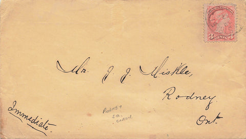 1894 Squared Circle On Canada Cover To Rodney, Ontario 3 Cent Small Queen