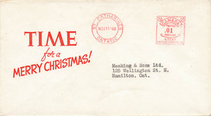 "St. Catherines, Ontario 1948 Metre Cancel On ""Time"" Merry Christmas Advertising Cover"