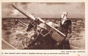 Military Postcard. Sailors On Canadian Destroyer Man Anti Aircraft Pom-Pom Gun.