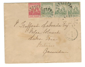 Split Ring Cancel 1896. BARBADOS COVER SENT TO ONT. PELEE ISLAND (1879-OPEN). TIED NEW YORK & WINDSOR. CLIPPED STAMPS PERFS.